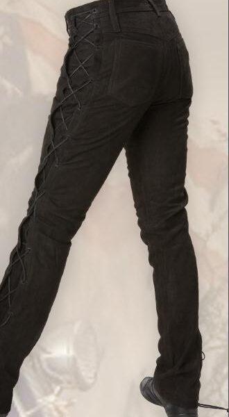 Fekete fűzős bőrnadrág-0