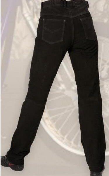 Fekete színű nubuk bőrnadrág-0