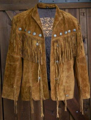 Hombre hasítottbőr western dzseki, barna-0