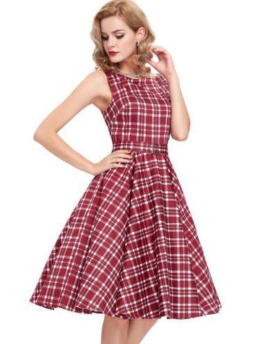 Retro 50s Rockabilly ruha, bordó kockás-5727