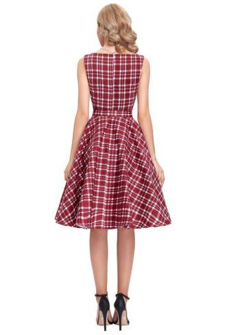 Retro 50s Rockabilly ruha, bordó kockás-5728