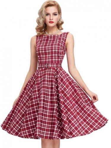 Retro 50s Rockabilly ruha, bordó kockás-0