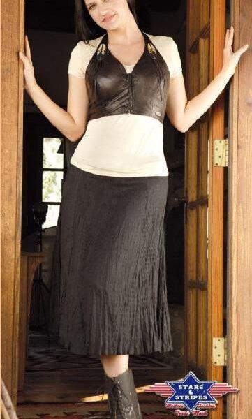 Layla western szoknya fekete és bézs színben-0