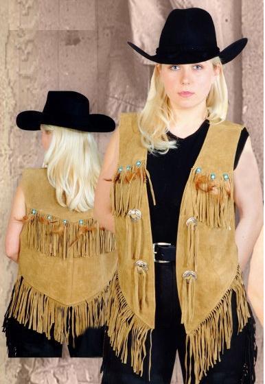 Női western bőrmellény bézs és fekete színben-0