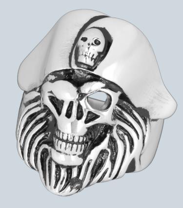 Nemesacél gyűrű koponyával-0