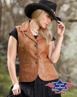 Olívia western női bőrmellény-0