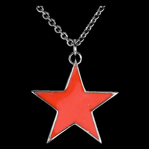 Piros csillag medál lánccal-0