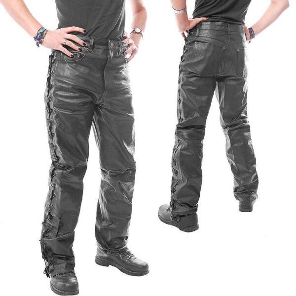 Fekete, oldalt fűzős nappabőr nadrág-0