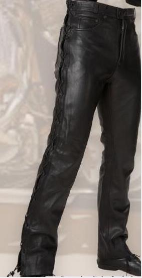 Fekete, oldalt fűzős marhabőr nadrág-0
