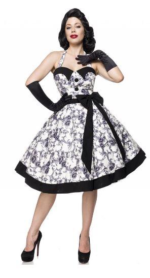 Vintage Swing Ruha Fekete Fehér Mintás-0