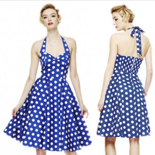 Világoskék Pinup Vintage Rockabilly ruha -0