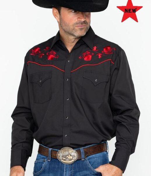 Ely Black Red Rose férfi western ing-0