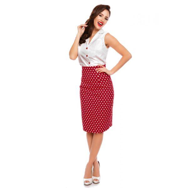 Falda Chich piros pöttyös szoknya-0