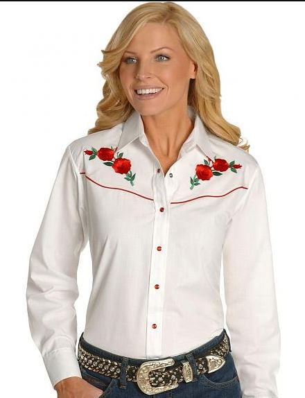 Ely White Rose női western blúz-0