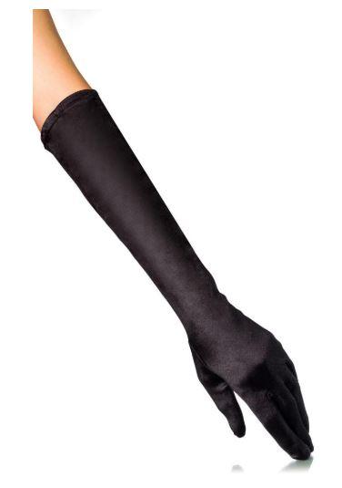 Elegáns hosszú szatén kesztyű fekete színben-0