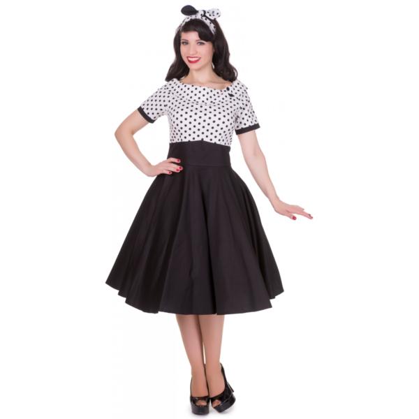 Darlene fekete-fehér swing ruha-0