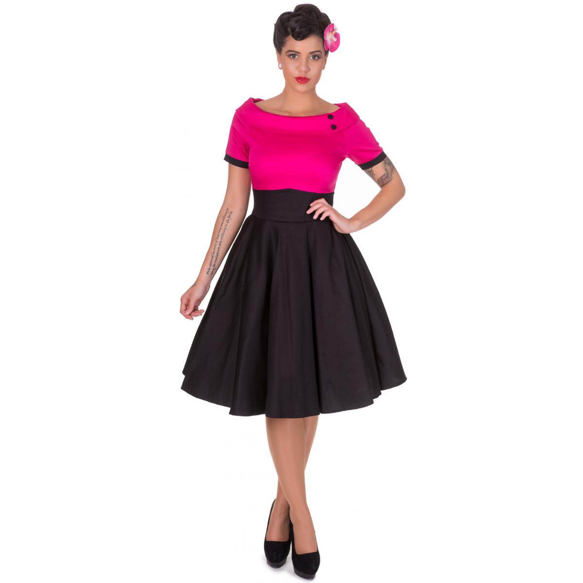 Darlene pink- fekete swing ruha-0