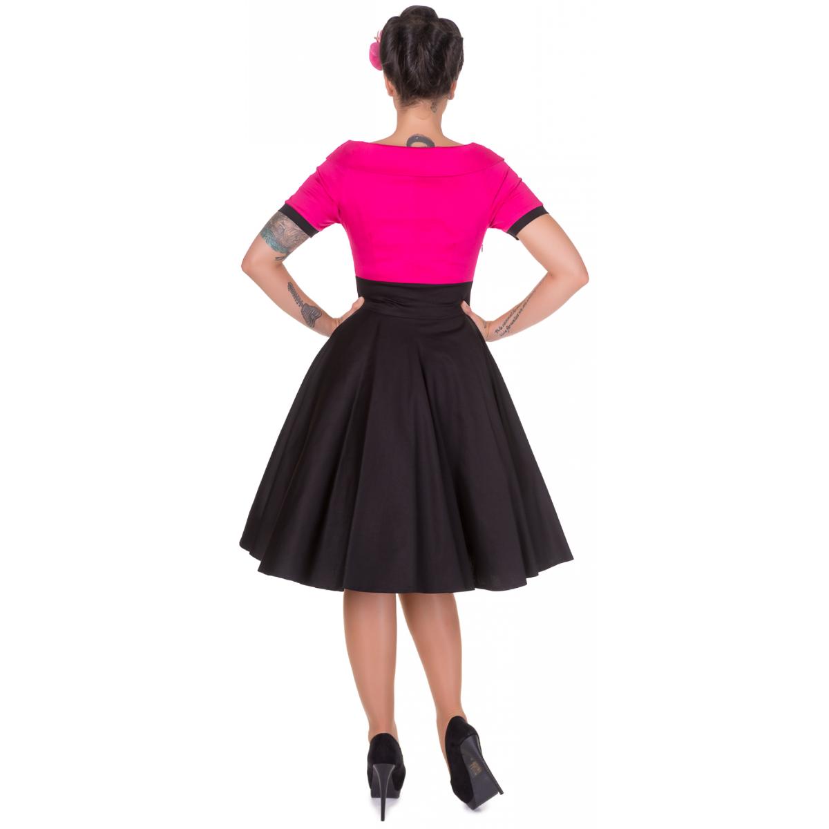 Darlene pink- fekete swing ruha-8363