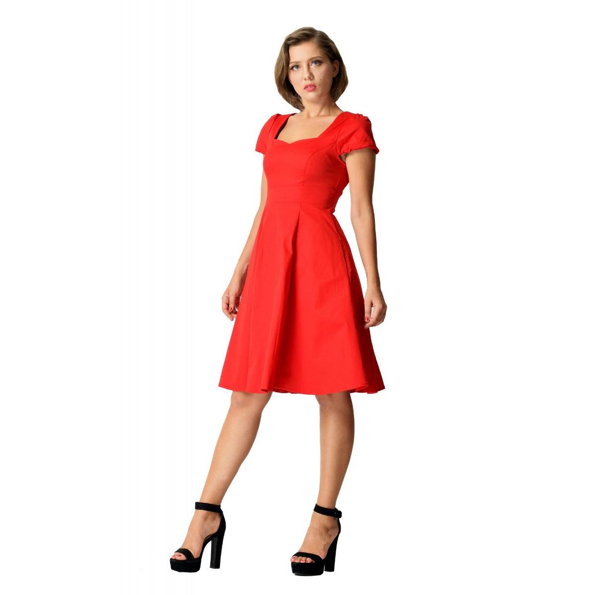 Claudia Flirty piros vintage ruha-0