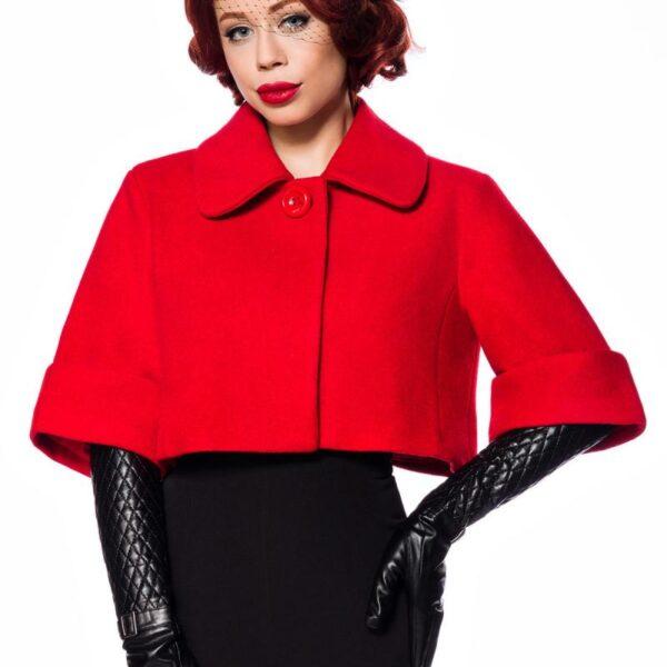 Rövid Vintage kabát, piros-0