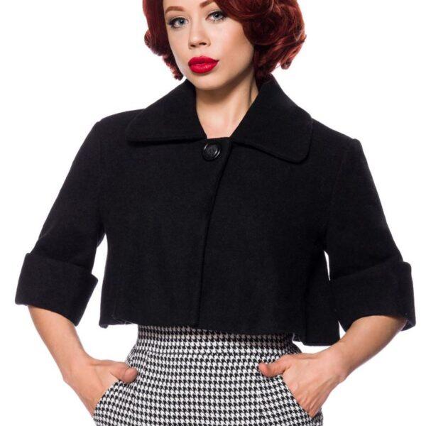Rövid Vintage kabát, fekete-0