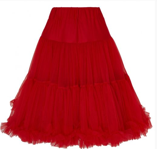 Piros fodros alsószoknya, 65 cm
