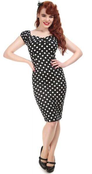 Dolores Polka ruha, fekete-fehér-0