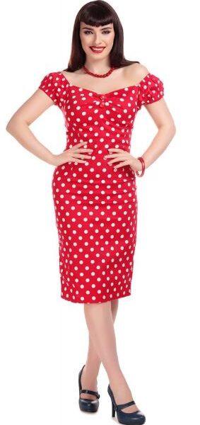 Dolores Polka ruha, piros-fehér-0