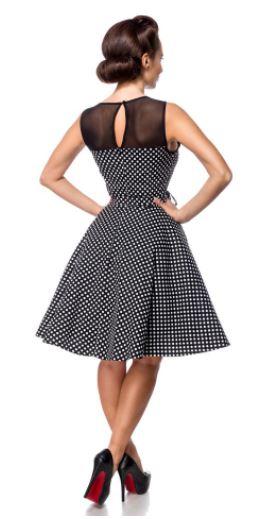 Fekete-fehér pöttyös retro ruha S-4XL méretekben.