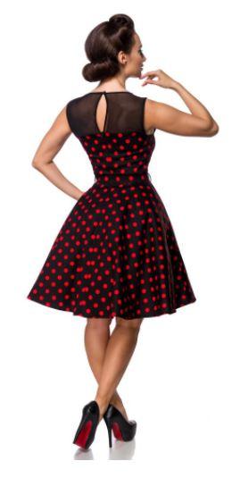 Fekete-piros pöttyös retro ruha S-4XL méretekben